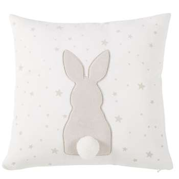 PANPAN White Organic Cotton Cushion Cover with Taupe Rabbit Print (H35 x W35 x D10cm)