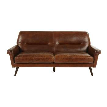 PAOLO Brown Vintage 3-Seater Leather Sofa (84 x 193cm)