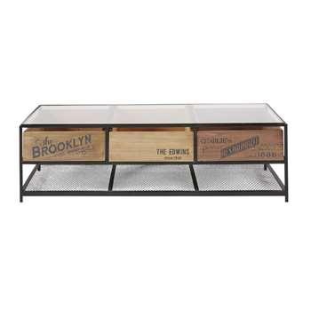PAPEL - Black Metal and Glass 3-Drawer Industrial Coffee Table (H41 x W135 x D70cm)