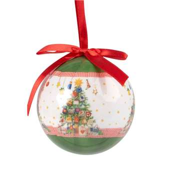 Paper Christmas Bauble with Christmas Tree Print and Red Bow (H7.5 x W7.5 x D7.5cm)
