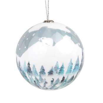 Paper Christmas Bauble with Fjord Print, Set of 6 (H7.5 x W7.5 x D7.5cm)