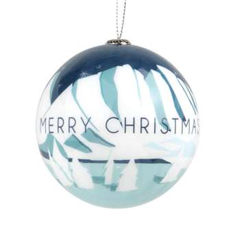 Paper Christmas Bauble with Ice Floe Print, Set of 6 (H7.5 x W7.5 x D7.5cm)
