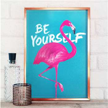 Paper Plane - Be Yourself Flamingo Print, A4 (H29.7 x W21cm)