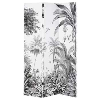 PARADISE Black and White Tropical Forest Print Screen (H180 x W122 x D2.5cm)