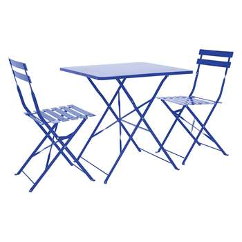Parc 2 Seat Cobalt Blue Metal Folding Bistro Set (H72 x W70 x D70cm)