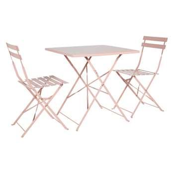 Parc 2 Seat Pink Metal Folding Bistro Set (H72 x W70 x D70cm)