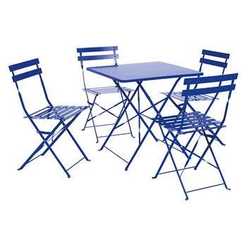 Parc Cobalt Blue Metal Folding Garden Table And 4 Chairs (H72 x W70 x D70cm)