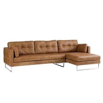 Paris leather right hand corner sofa natural tan (67 x 287cm)