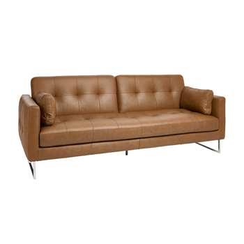 Paris leather three seater sofa bed natural tan (90 x 230cm)