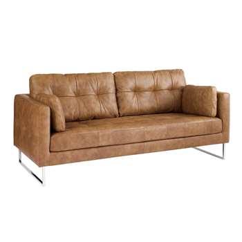 Paris leather three seater sofa natural tan (67 x 198cm)