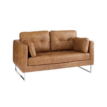 Paris leather two seater sofa natural tan (67 x 154cm)