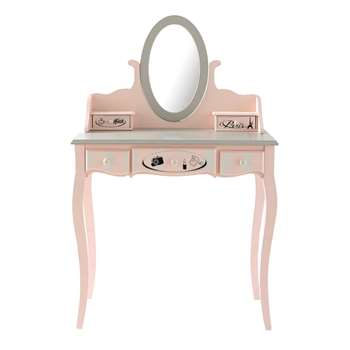 PARIS MODE Pink 5-Drawer Dressing Table (125 x 82cm)