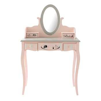 PARIS MODE Pink 5-Drawer Dressing Table (125 x 82cm)