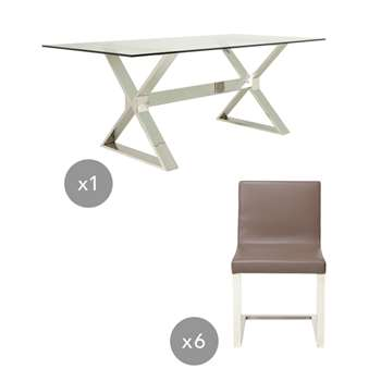 Park Table and Chair Dining Set - Stainless Steel (75 x 200cm)