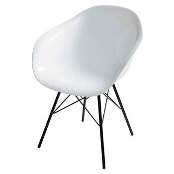 PARKER White Armchair With Black Metal Legs (79 x 60cm)