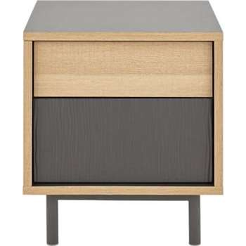 Parky Bedside Table, Oak and Grey (45 x 42cm)