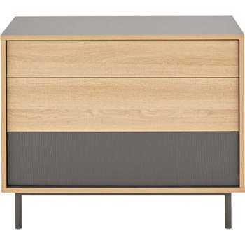 Parky Chest of Drawers, Oak and Grey (73 x 90cm)