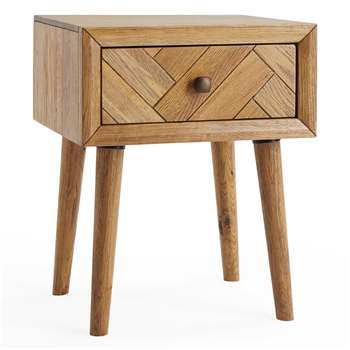 PARQUET - Brushed and Glazed Solid Oak Side Table (H63 x W50 x D43cm)