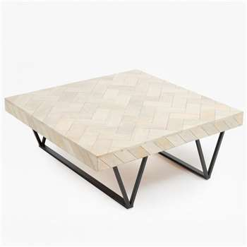Parquet Coffee Table - Blonde (H33 x W90 x D90cm)