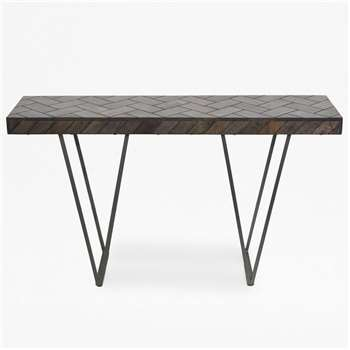 Parquet Console Table - Brown (H80 x W140 x D35cm)