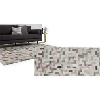 Parquet Extra Large Cowhide Rug, Tonal Grey (200 x 300cm)