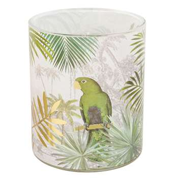 PARROT Candle in Glass Holder with Tropical Motifs (H12.5 x W10 x D10cm)
