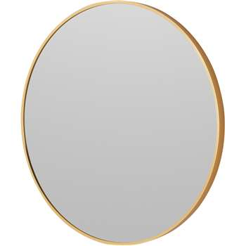 Parton Round Wall Mirror, Brushed Brass (Diameter 60cm)