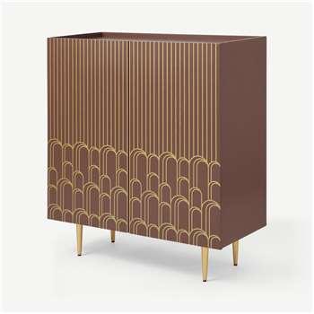 Parvell Hallway Storage Cabinet, Burgundy & Gold (H91 x W80 x D34cm)