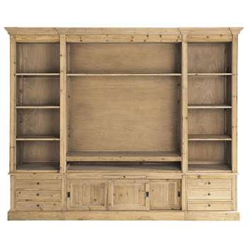 PASSY Recycled solid wood TV unit bookcase (220 x 264cm)
