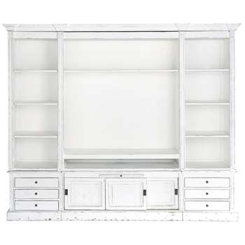 PASSY Solid wood TV unit bookcase in ivory (220 x 264cm)