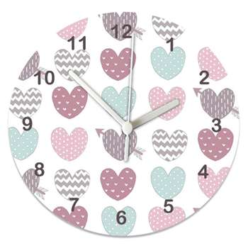 Pastel Hearts Clock (Diameter 20cm)