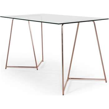 Patrizia Desk, Copper and Clear Glass (76 x 130cm)