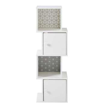 Patterned White 2-Door Storage Cabinet Joy (H120 x W38 x D30cm)