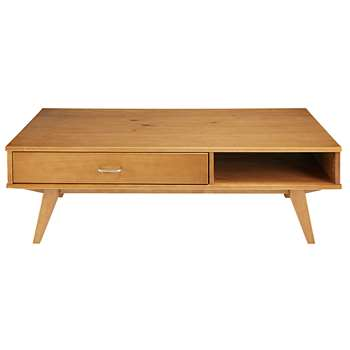 PAULETTE 1-drawer faux wood coffee table (40 x 120cm)