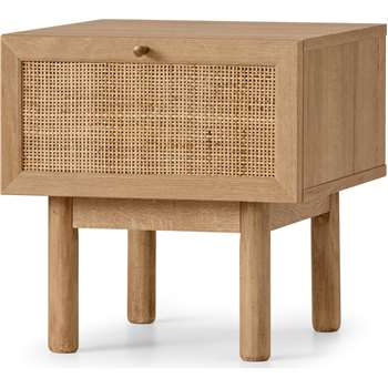 Pavia Bedside Table, Natural Rattan & Oak Effect (H40 x W39 x D42cm)