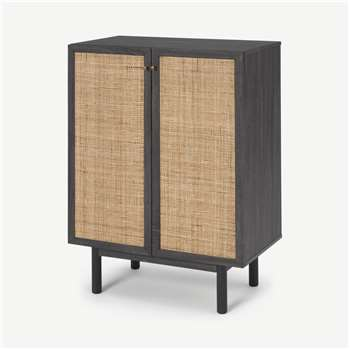 Pavia Compact Highboard, Natural Rattan & Black Wood Effect (H102 x W73 x D41cm)