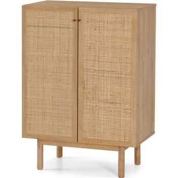 Pavia Compact Highboard, Natural Rattan & Oak Effect (H102 x W73 x D41cm)