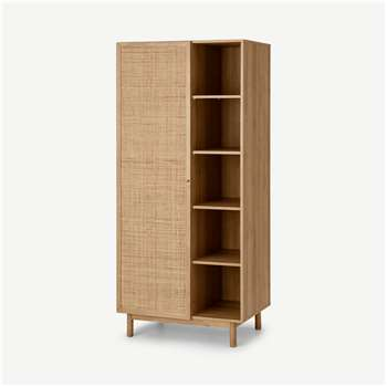 Pavia Double Wardrobe, Natural Rattan & Oak Effect (H180 x W80 x D56cm)
