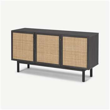 Pavia Sideboard, Natural Rattan & Black Wood Effect (H70 x W136 x D41cm)