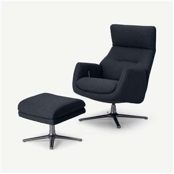 Paxton Reclining Accent Armchair and Footstool, Elite Navy (H109 x W69 x D86cm)