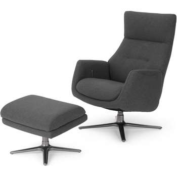 Paxton Reclining Accent Armchair and Footstool, Marl Grey (H109 x W69 x D86cm)