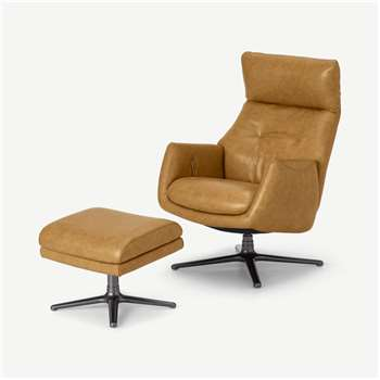 Paxton Reclining Accent Armchair and Footstool, Moroccan Brown Leather (H109 x W56 x D86cm)