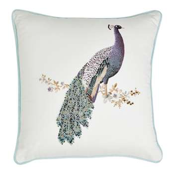 Peacock Beaded Duck Egg Cushion (H40 x W40cm)
