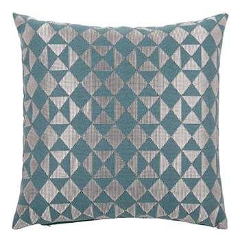 Peacock Blue Cushion Cover with Jacquard Motifs (H40 x W40cm)