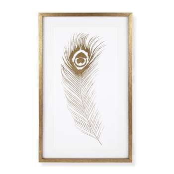 Peacock Feather Gold Effect Framed Print (60 x 37cm)