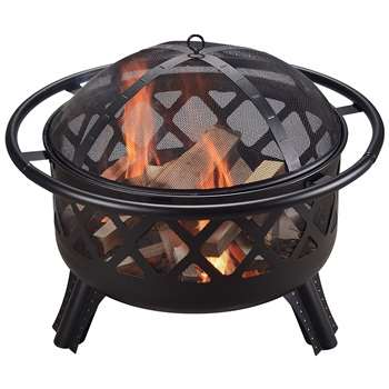 Peaktop Wood Burning Fire Pit with Cover, CU296, Black (H62 x W76 x D76cm)
