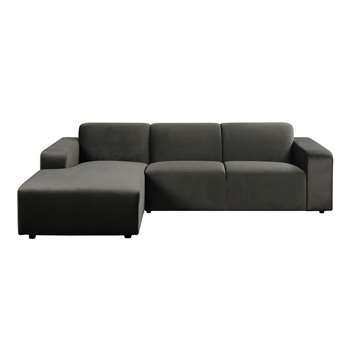 Pebble Left hand Corner Sofa - Carbon (H78 x W276 x D176cm)