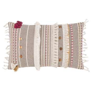 PEGO Grey Embroidered Cotton Cushion Cover (H30 x W50cm)