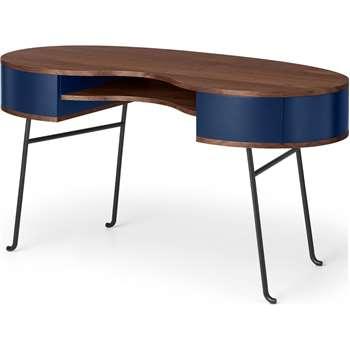 Pendelbury Desk, Walnut & Royal Blue (H76 x W146 x D65cm)