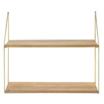 PENDJAB Gold Metal and Mango Wood Wall-Mount Shelving Unit (H51.5 x W60 x D20cm)